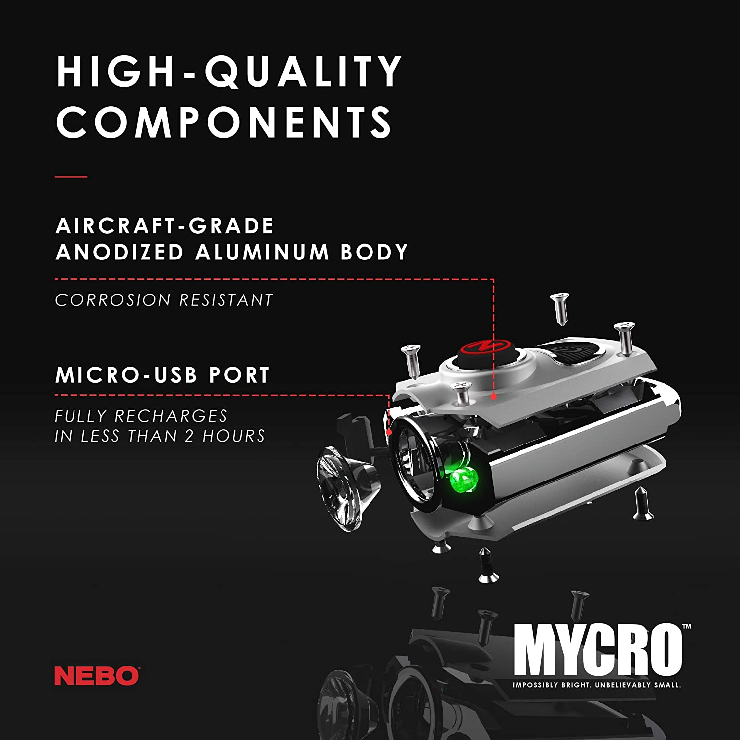 Lanyard or Keyring NEBO 400-Lumen Key Chain Flashlight: Features 6 Unique Light Modes MYCRO 6714 Including 400 Lumen Turbo Mode and 3 LED Color Options; Easily Secured via Necklace Silver