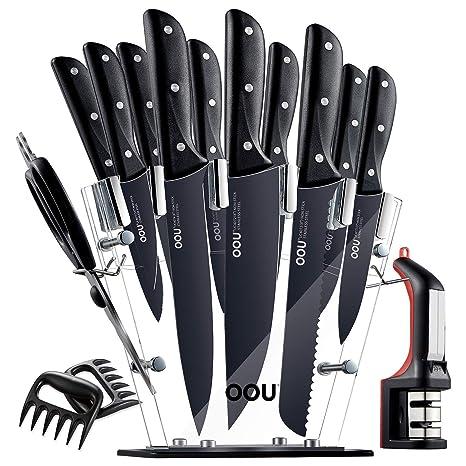 OOU Pro - Juego de cuchillos de cocina (15 piezas, acero ...