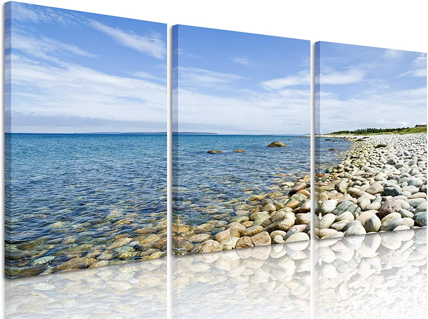 Natural art Modern Stretched and Framed Paintings Contemporary Large Canvas Art Prints Wall Art White Beach Pictures for Home Decor Ready to Hang, 3 Panels