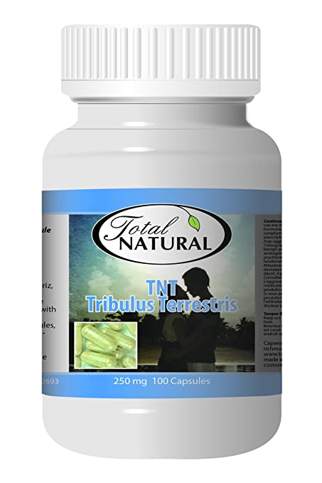 TNT Tribulus Terrestris 250mcg 100 Capsules [1 Bottle] by Total Natural, Promote Great Sexual Health, Build Muscle, Safe and Natural Health Supplement for Men