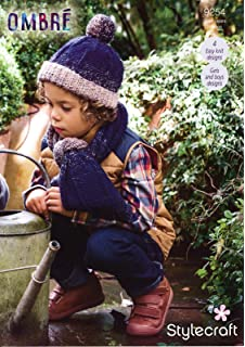 7a2f7e6813a Stylecraft 9254 Knitting Pattern Childrens Easy Knit Hats and Scarves in  Stylecraft Ombre Aran