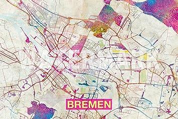 Map Of Bremen Germany.Amazon Com Introspective Chameleon Bremen Germany Artistic Modern