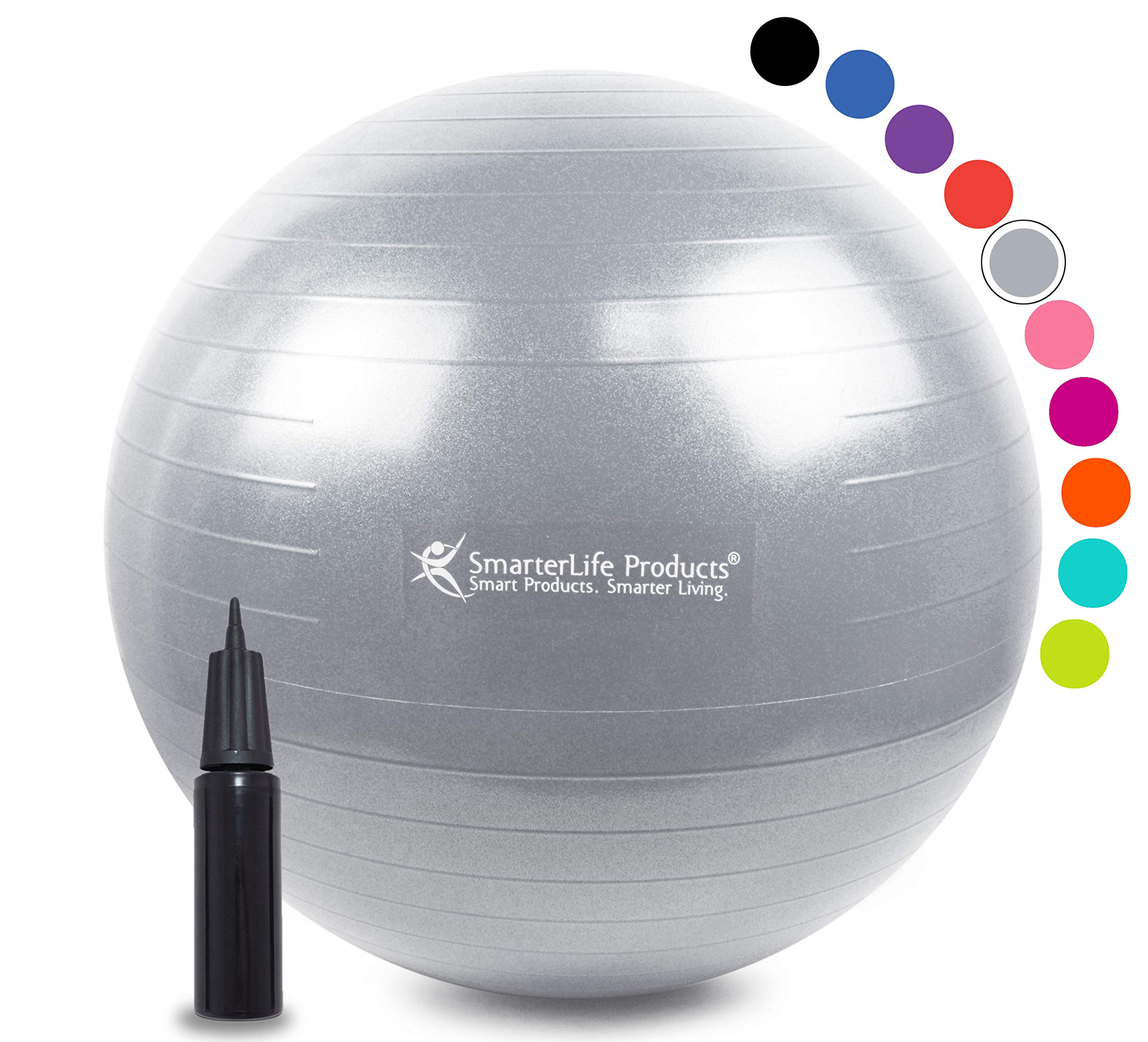 Exercise Ball for Yoga, Balance, Stability from SmarterLife - Fitness, Pilates, Birthing, Therapy, Office Ball Chair, Classroom Flexible Seating - Anti Burst, Non Slip + Workout Guide (Silver, 65cm)