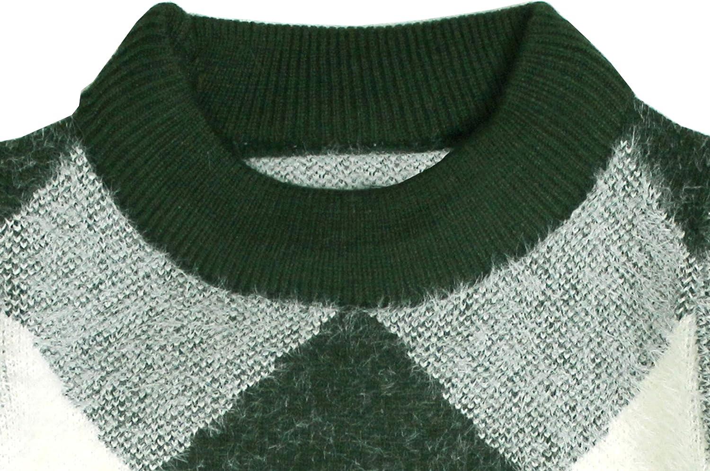 Bienzoe Little Boys Long Sleeve Crew Neck Mixed Pattern Pullover Sweater
