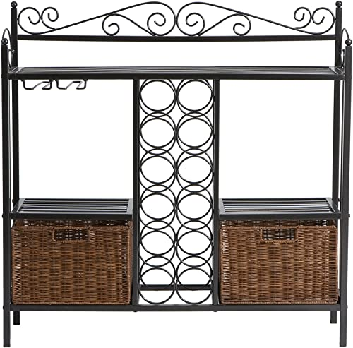 Celtic Bakers Rack w Wine Storage – Wrought Iron – Gunmetal Finish
