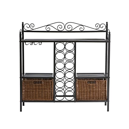 Merveilleux Southern Enterprises, Inc. Celtic Bakers Rack W/Wine Storage   Gunmetal Gray
