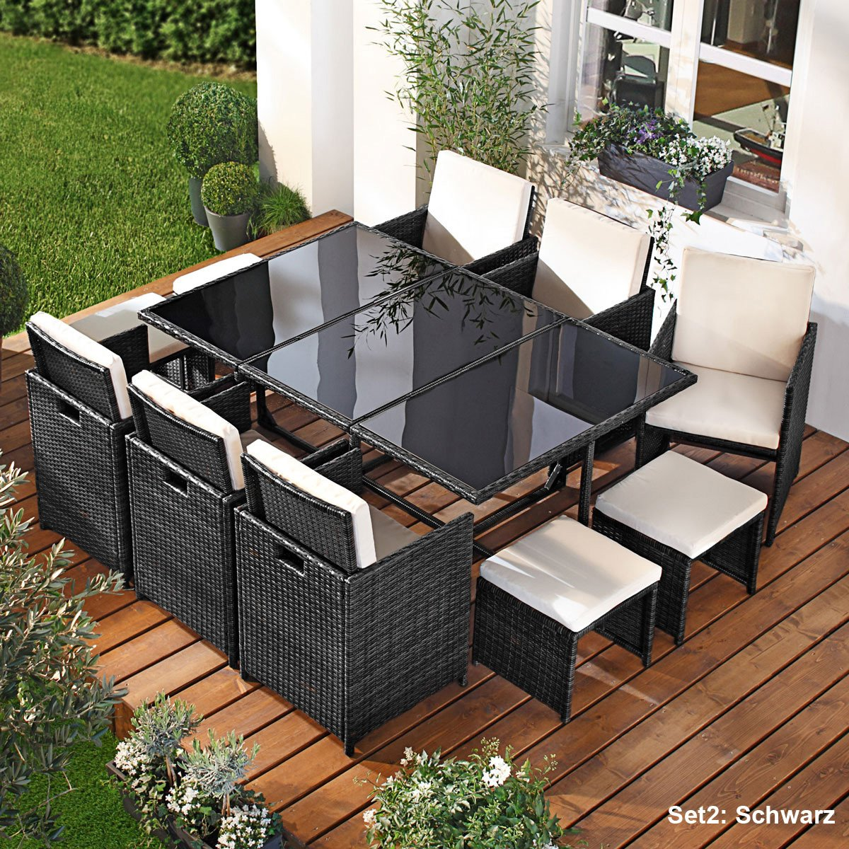 polyrattan gartenm belset camouflage 11tlg schwarz poly. Black Bedroom Furniture Sets. Home Design Ideas