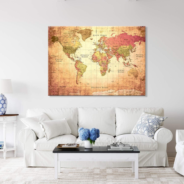 70 x 100 cm ANTIKE Weltkarte Giallobus Druck AUF LEINWAND Bild World MAP Old