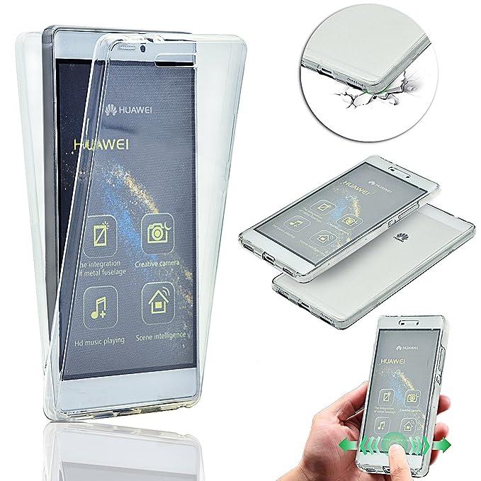 Vandot Huawei P9 Plus | Funda Carcasa Protectora 360 Grados | TPU en Transparente | Full Body Protección Completa Doble Tapa Delantera + Trasera ...