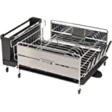 Sabatier Expandable Compact Dish Rack with Wine Glass Holder, Stainless Steel, Black