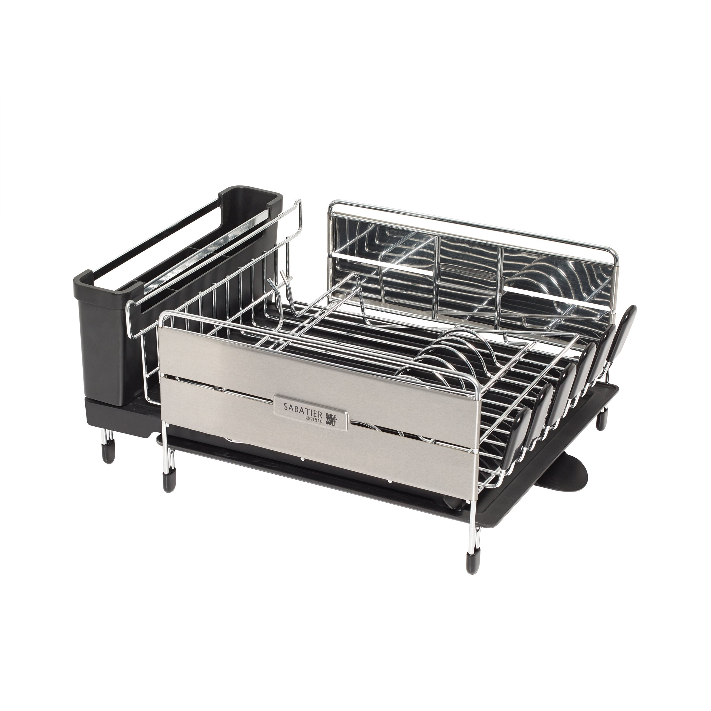 Space Saving Dish Rack Sabatier Expandable Compact Dish Rack With Wine Glass Holder