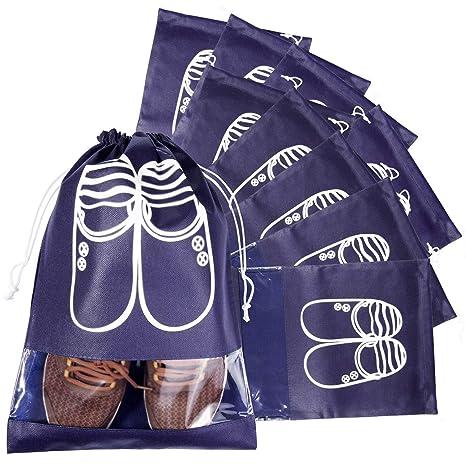 Bolsas para Zapatos, MOOKLIN 10pcs Bolsa a Prueba de Polvo portátil para Viajes, Bolso Impermeable Multifunción con Ventana Transparente para Zapatos, ...