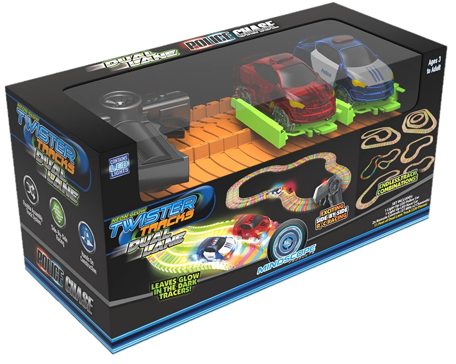 Mindscope Twister Tracks Trax 360 Loop 15 feet Pulse LED of Neon Glow in the Dark Track with Two Light-Up Vehicles Sports Car Series by Mindscope