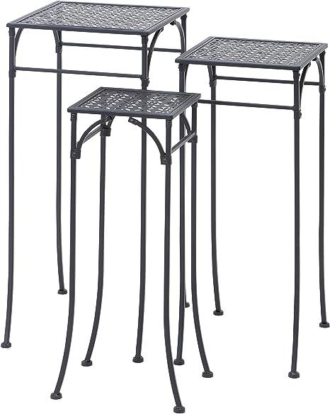 Amazon Com Deco 79 65798 3 Piece Metal Plant Stand Set Square Garden Outdoor