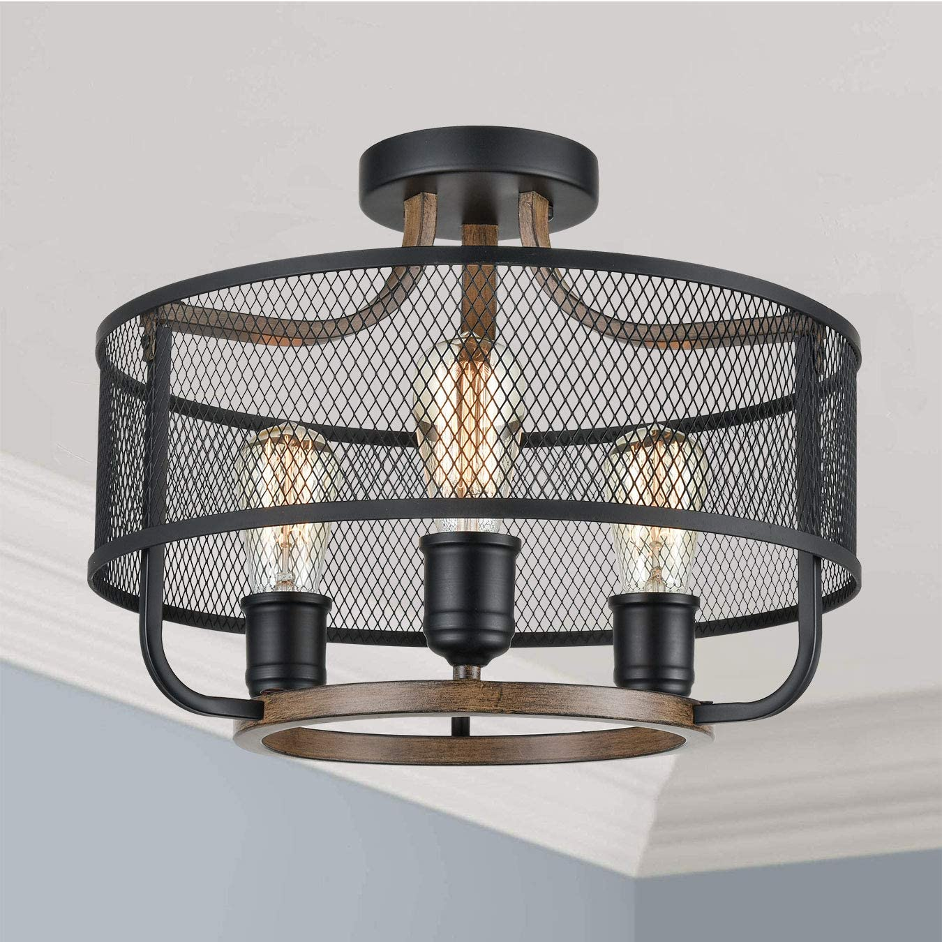 Industrial Black Semi Flush Mount Ceiling Light Metal Mesh Drum Shade with Wood Finish