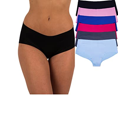 Sexy Basics Women's 6 Pack Laser Cut Seamless Invisible Boyshort Panty