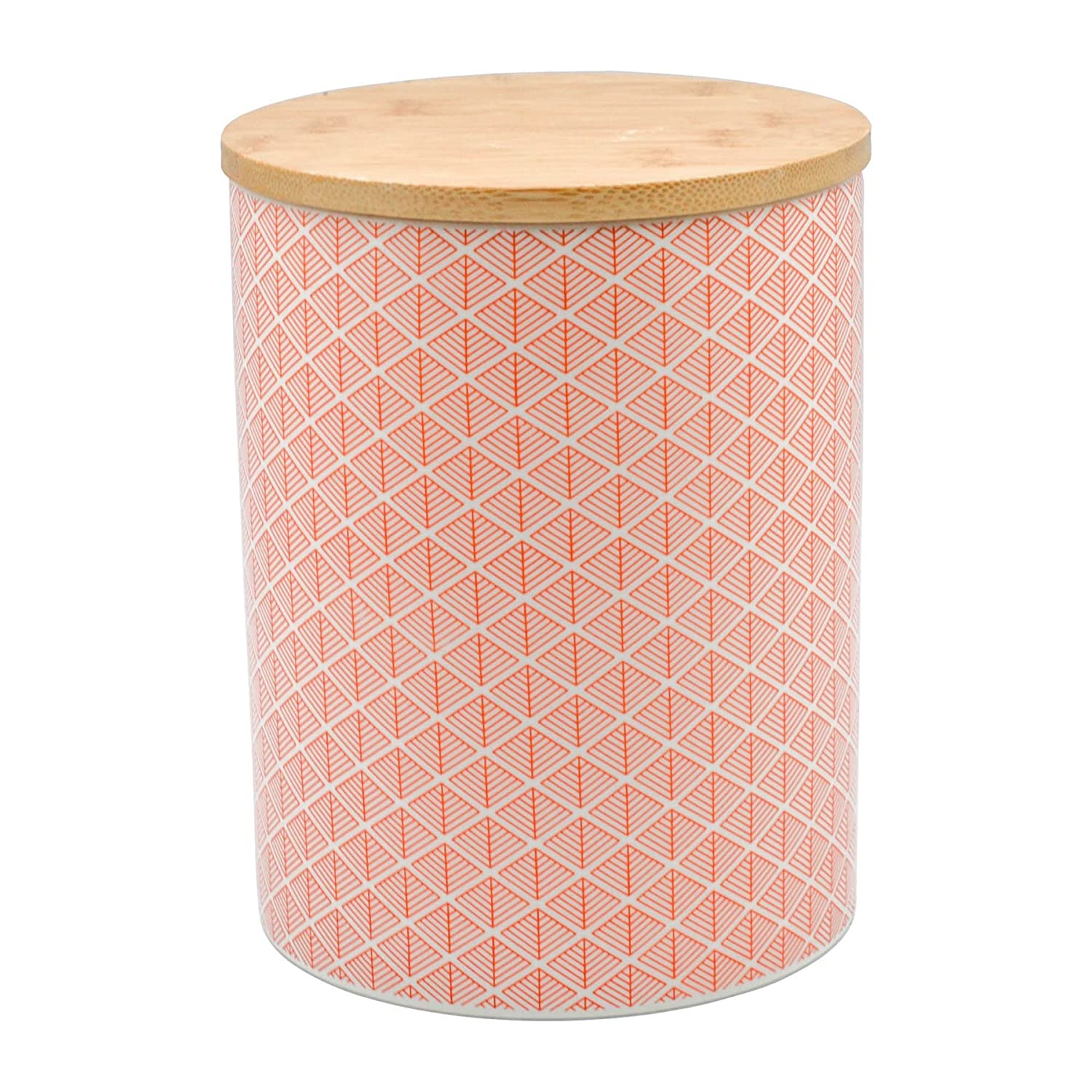 Nicola Spring Geometric Design Patterned Porcelain Biscuit Barrel - Coral/Orange