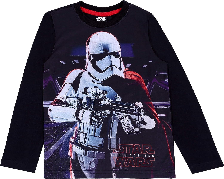 Disney T-Shirt for Boys : Long Sleeved Top : Black : Star Wars