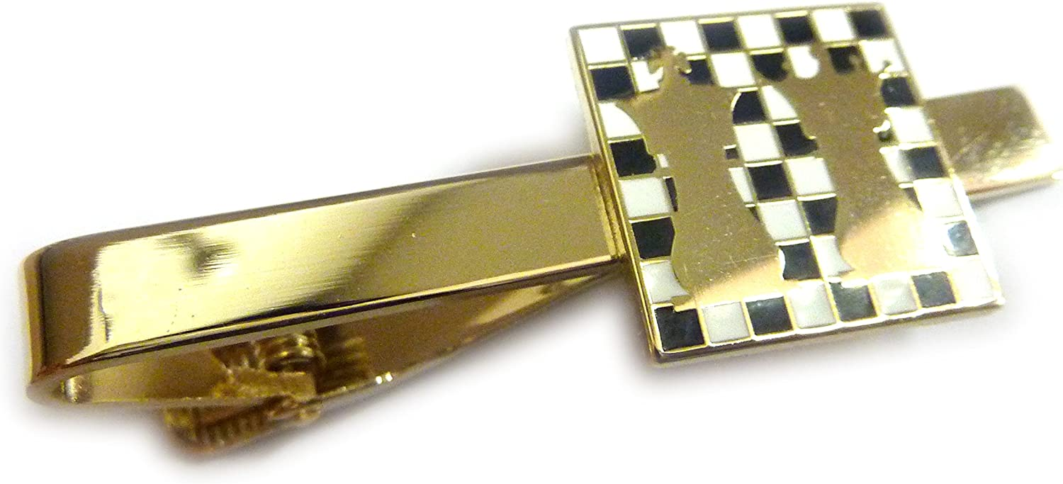 Chess Ajedrez King Queen Checkerboard Suit Tuxedo Tie Bar Clip