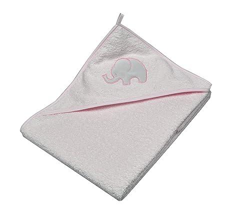 Asmi toalla de baño con capucha toalla para bebé de peluche 100 x 100 cm rosa