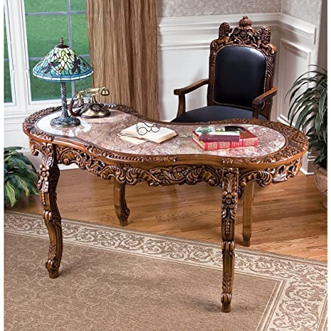 Antique Replica Hand-carved Hardwood Solid Marble Desk - Amazon.com: Antique Replica Hand-carved Hardwood Solid Marble Desk