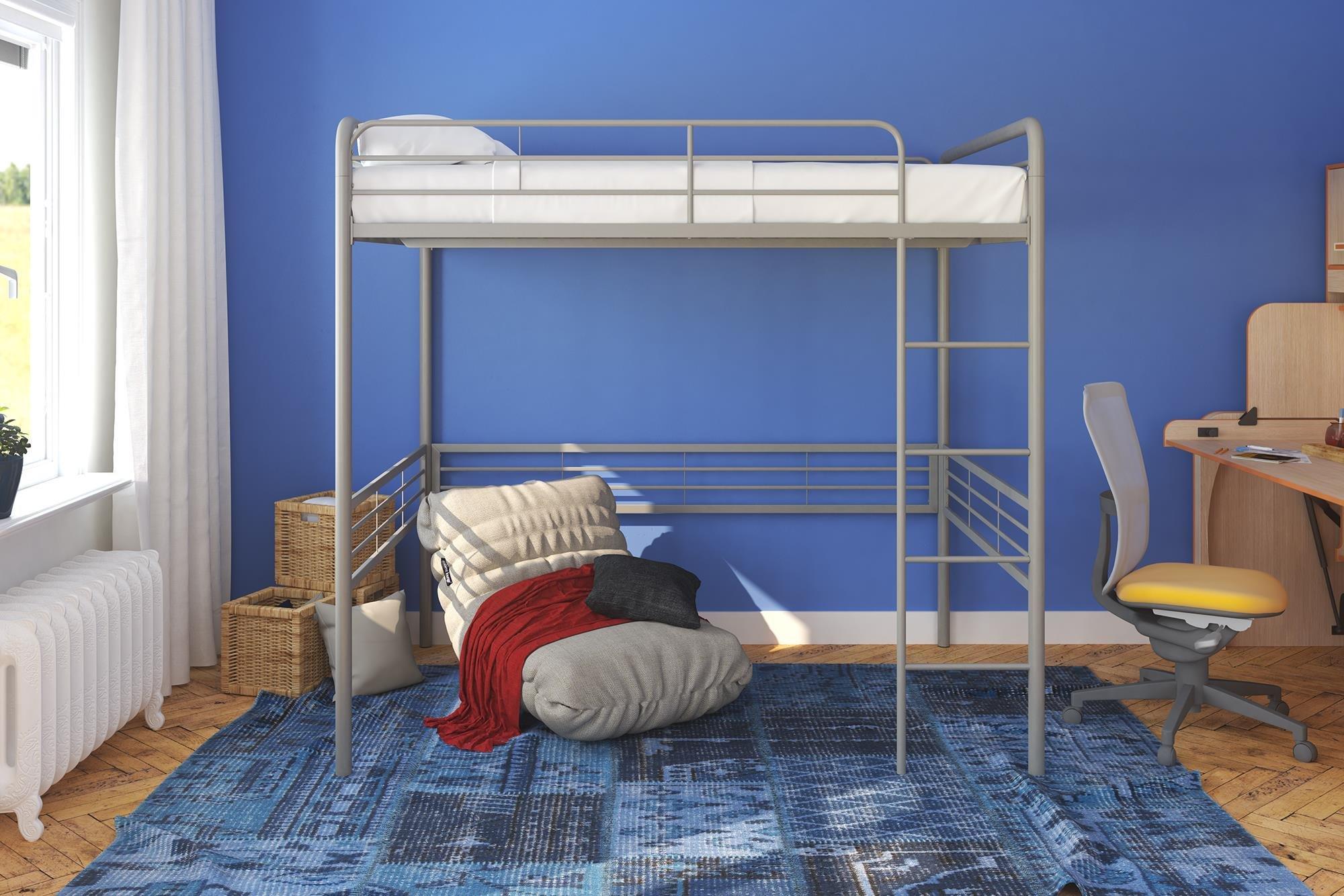 DHP Silver Metal Loft Bed with Signature Sleep Memoir 6-Inch Mattress, Kids Furniture Set, Full Size