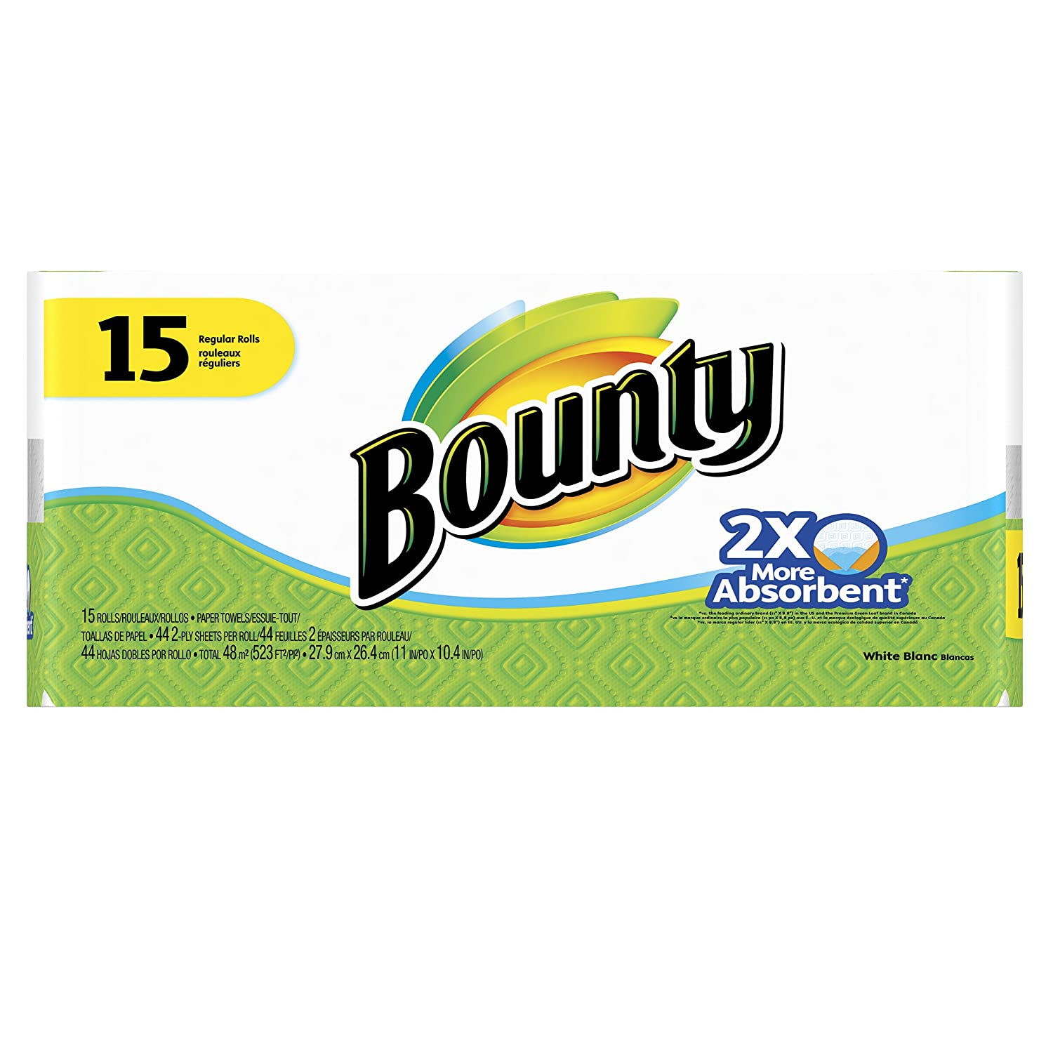 Amazon.com: Bounty Paper Towels, White, 15 Regular Rolls (Case of 1): Health & Personal Care
