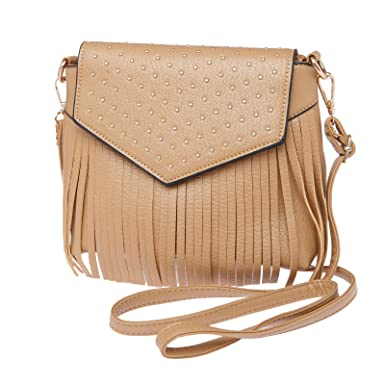 Buy Fur Jaden Beige Fringed Sling Bag Online at Low Prices in ...