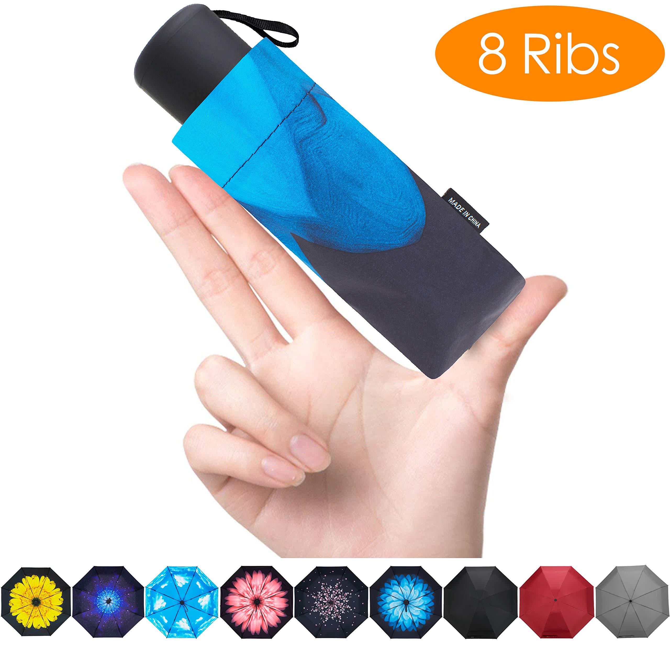 FidusUpgraded 8 Ribs Mini Portable Sun&Rain Lightweight WindproofUmbrella - Compact Parasol Outdoor Travel Umbrella for MenWomen Kids-Blue Daisy by Fidus