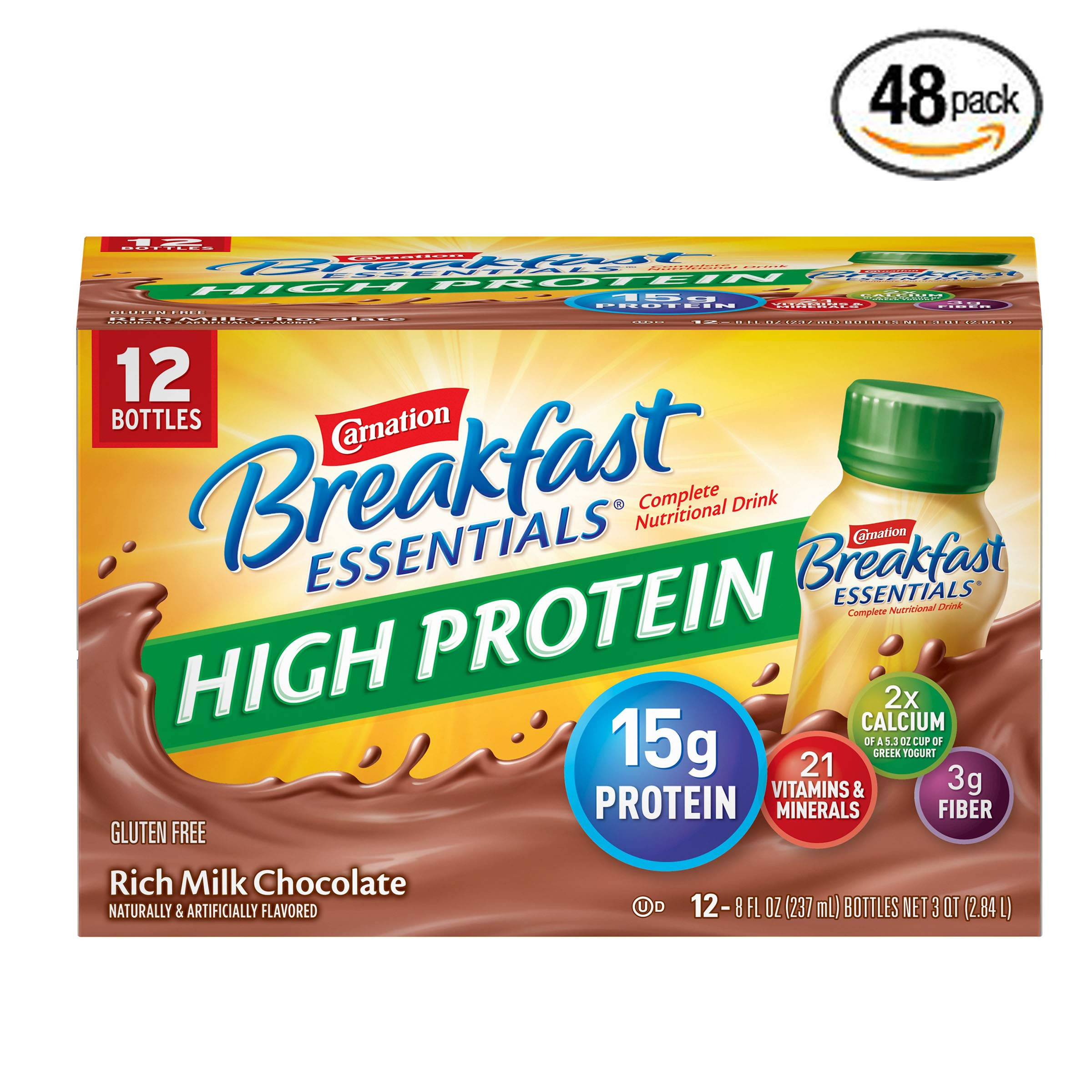 Carnation Breakfast Essentials High Protein Ready To Drink, Rich Milk Chocolate, 8 Fluid Ounce - Pack of 48