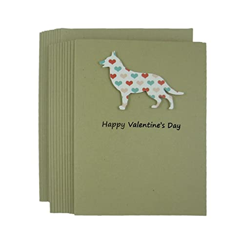 Amazon german shepherd dog valentines day greeting card 10 german shepherd dog valentines day greeting card 10 pack dog silhouette with colored hearts handmade kraft m4hsunfo