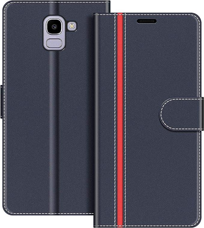 COODIO Funda Samsung Galaxy J6 2018 con Tapa, Funda Movil Samsung J6 2018, Funda Libro Galaxy J6 2018 Carcasa Magnético Funda para Samsung Galaxy J6 2018, Azul Oscuro/Rojo: Amazon.es: Electrónica