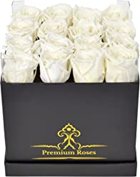 Premium White Roses in The Box| Fresh Cut White Roses