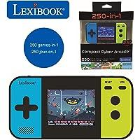Lexibook JL2377 kompakt cyber arkad bärbar spelkonsol, 250 spel, LCD, batteridriven, videospel barn tonåringar, svart…