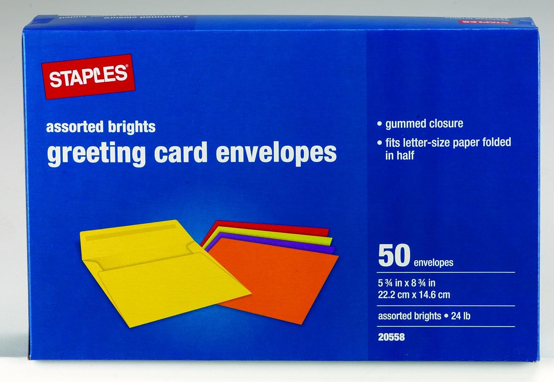 Staples Brights Greeting Card Envelopes 50box 18688 Amazon