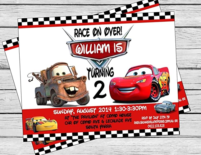 Image Unavailable Not Available For Color Disney Cars Inspired Birthday Invitation