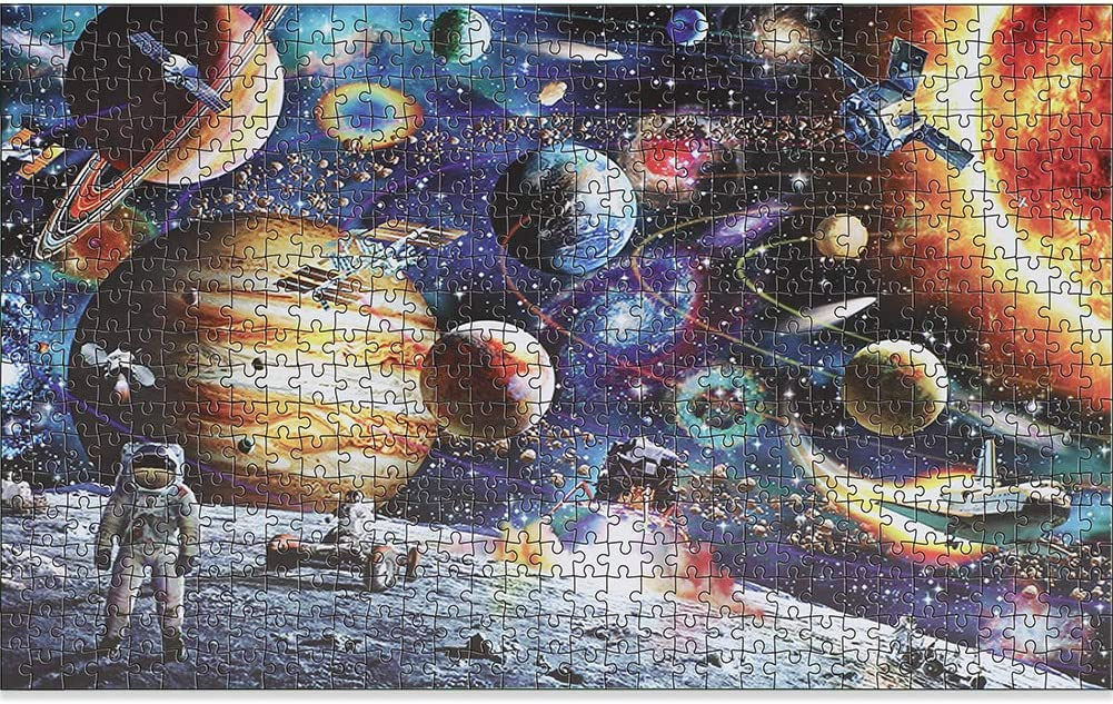 1000 Pieces Space Jigsaw Puzzle for Kids Adult, Outer Space Planet Astronaut Galaxy Paper Puzzles Toy Educational Games Gift Wall Decor