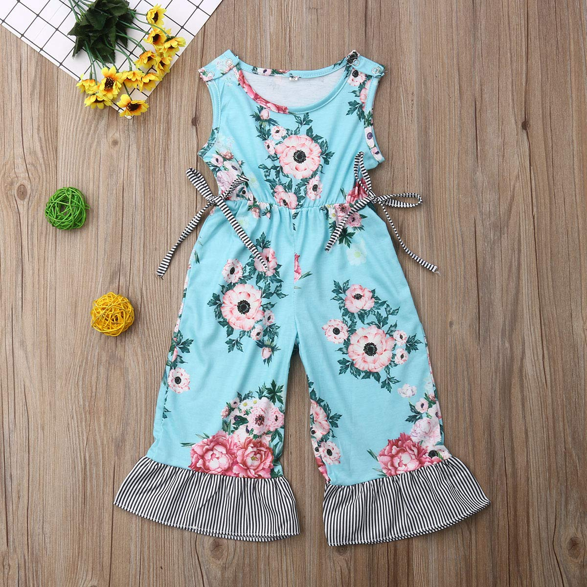 Toddler Baby Girls Floral Overalls Jumpsuit Bell-Bottom Pants One-Piece Summer Clothes Outfits