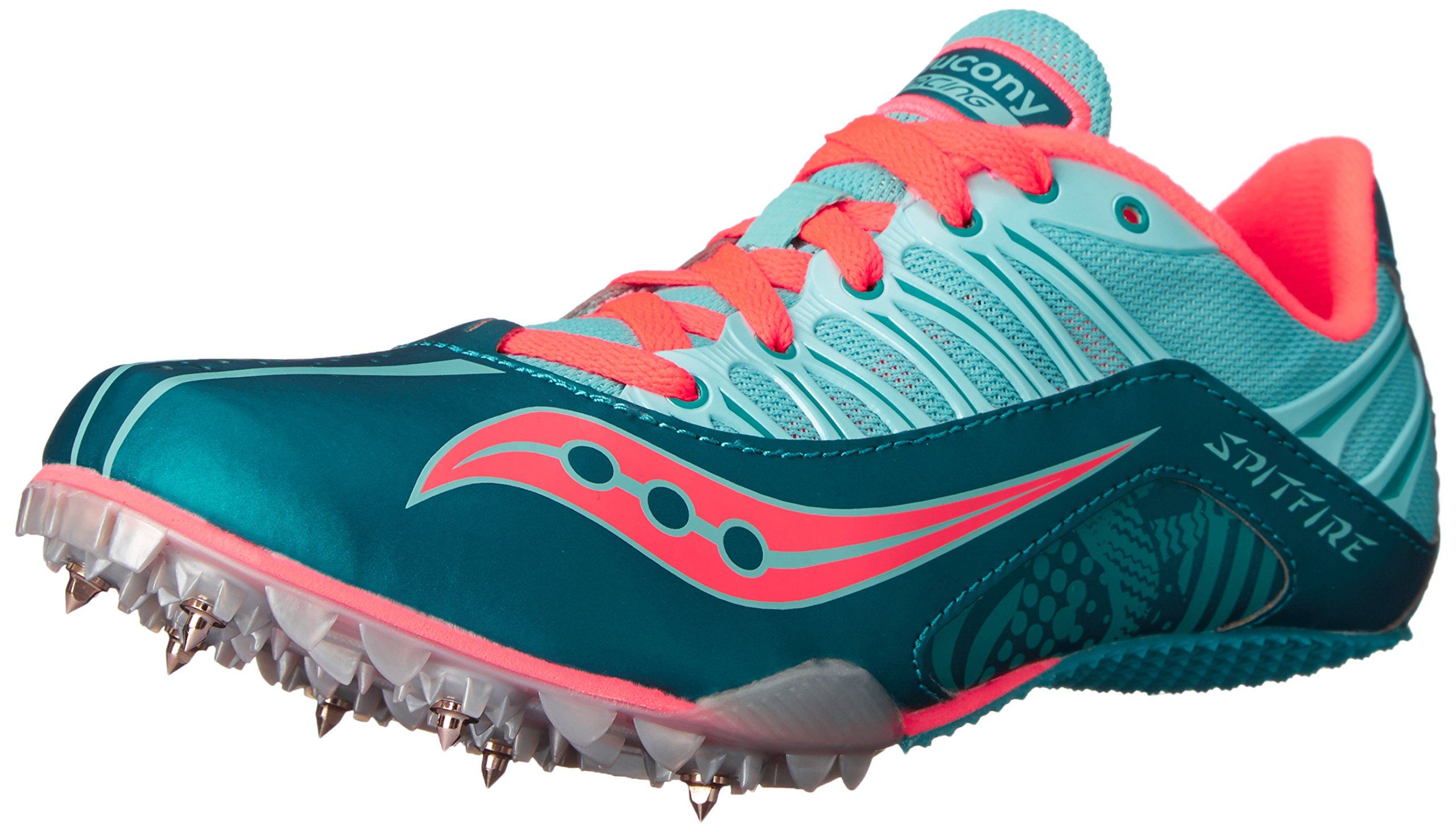 Saucony Women's Spitfire Spike Shoe, Teal/Coral, 6.5 M US by Saucony