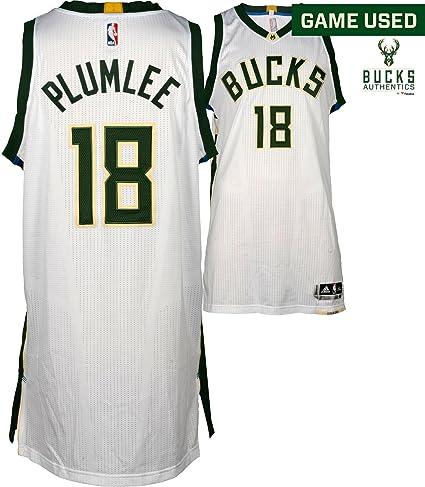 best service 4b1c2 1d421 Miles Plumlee Milwaukee Bucks Game-Used #18 White Jersey vs ...