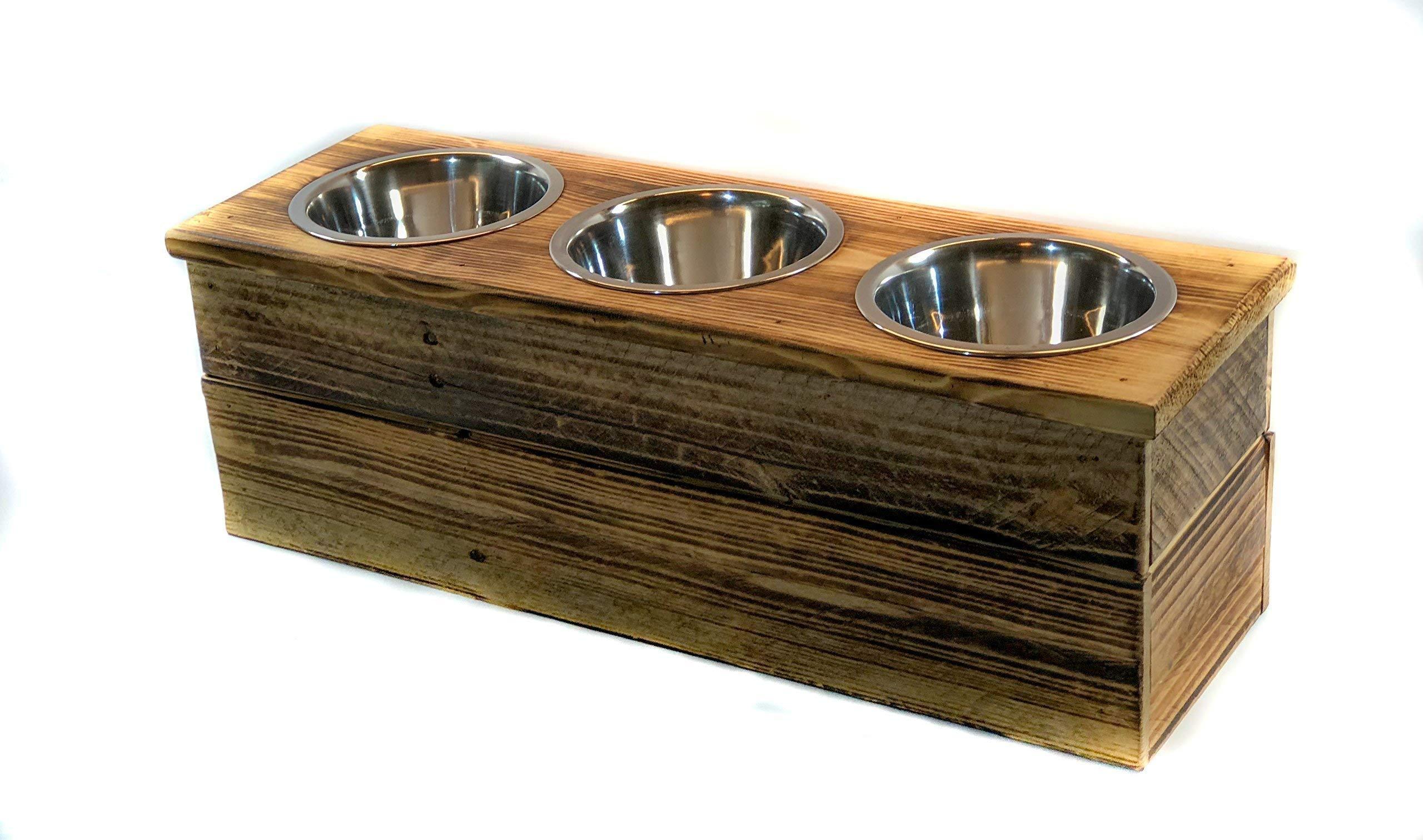 Triple Medium Elevated Dog Dish // Medium 3 Bowl Feeding Stand // Dog Dish // Elevated Dog Bowl