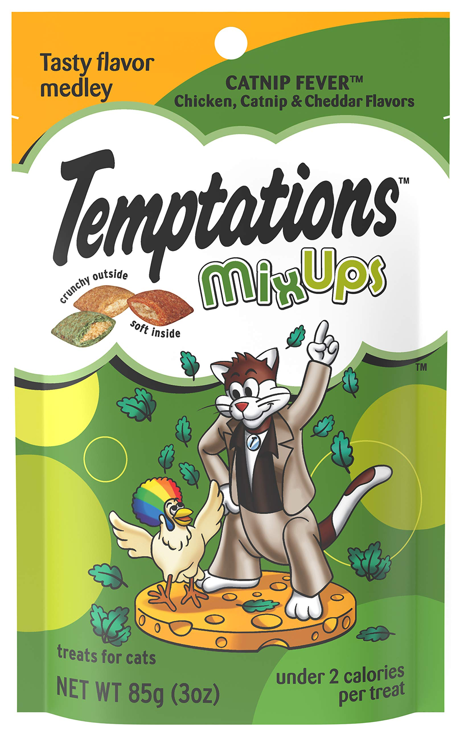 TEMPTATIONS MixUps Treats for Cats CATNIP FEVER Flavor 3 Ounces  (Pack of 12) by Temptations
