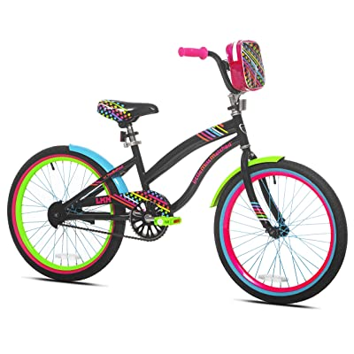 "Let Kids Ride in Sweet Style with Bright, Eye Catching LittleMissMatched 20"" Girls' Bike, Multi-Color, with Rear Brakes, BMX Style Handlebars, an Adjustable Seat, and a Mounted Carry Bag, for Ages 8-12 : Sports & Outdoors"