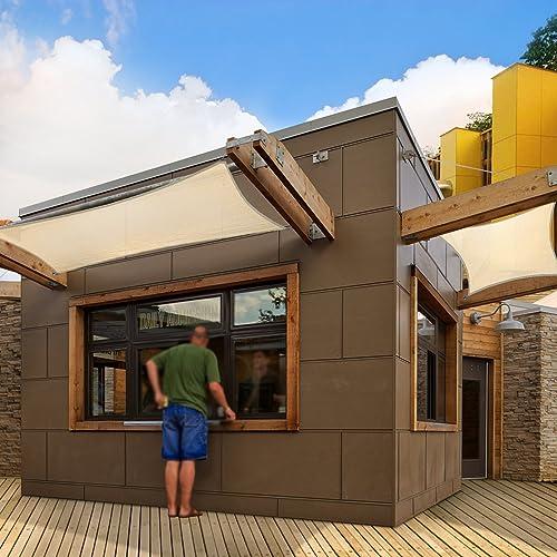 Coarbor 12 x16 Rectangle Brown UV Block Fabric Sun Shade Sail Canopy Perfect for Patio Outdoor Garden Customized