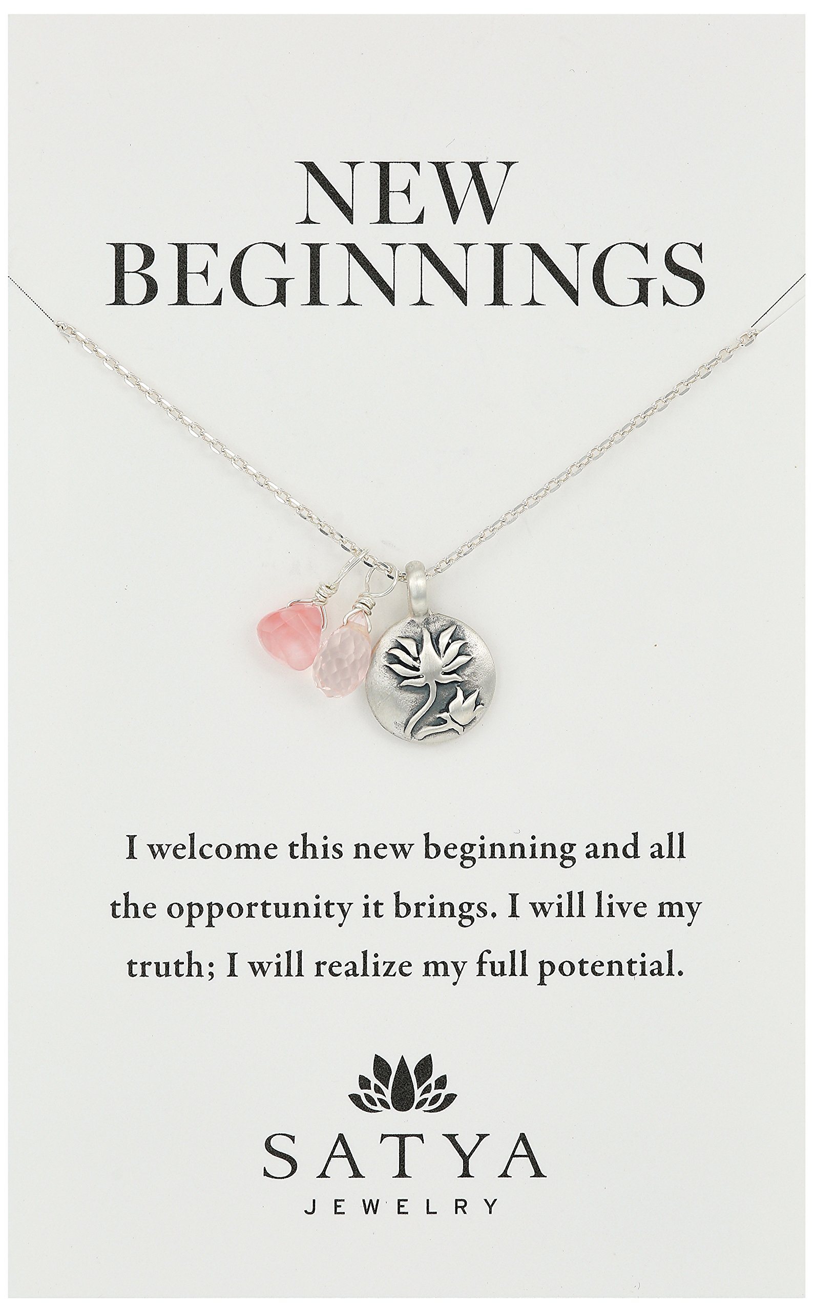 Satya Jewelry Sterling Silver Rose Quartz Lotus Charm Necklace (18-Inch), 18'' by Satya Jewelry (Image #1)