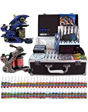 Solong Tattoo Complete Tattoo Kit 2 Pro Machine Guns 54 Inks Power Supply Needle Grips Tips with Carry Case TK221