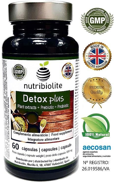 Detox Plus   Adelgazante Drenante para Desintoxicar Hígado Limpiar los Intestinos y Bajar de Peso Reducir Glucosa y Colesterol Mejora Sistema ...