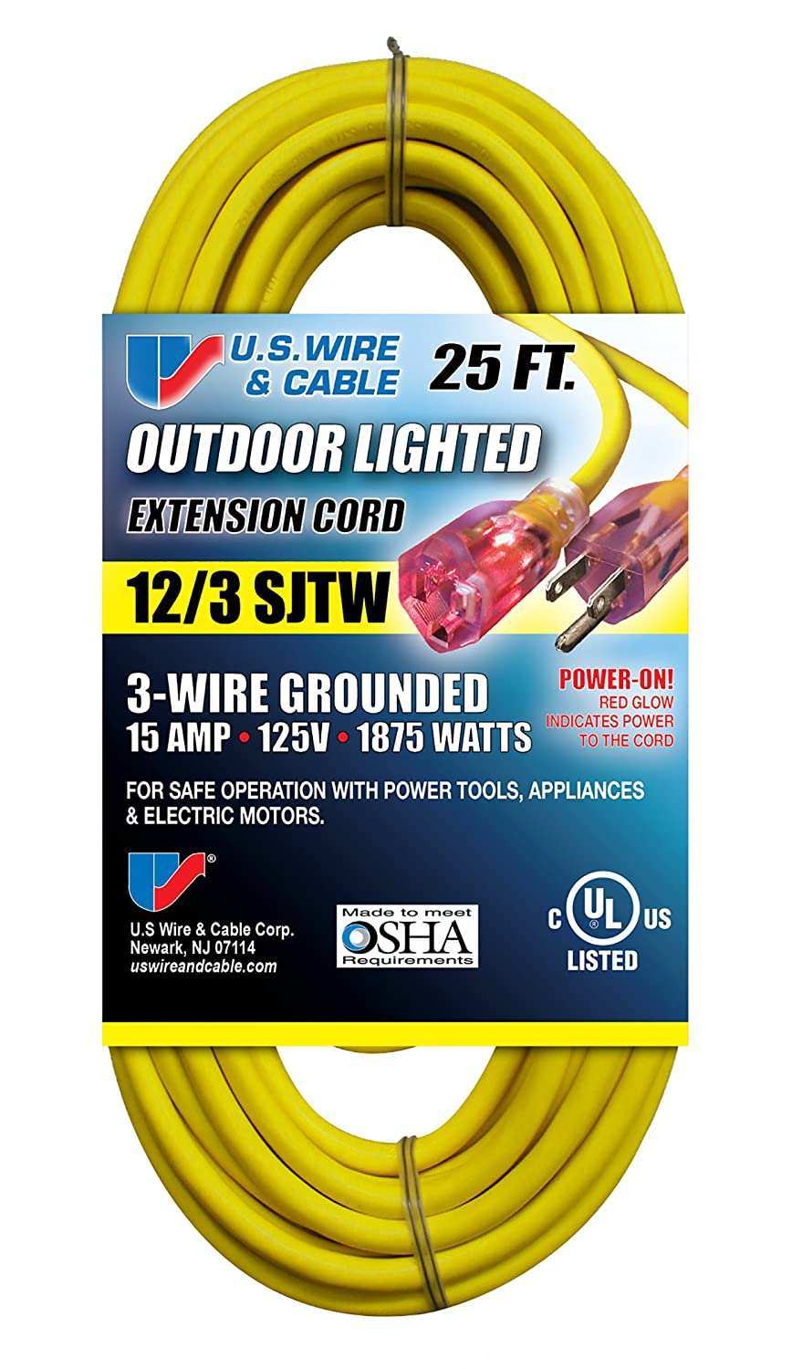 Us Wire 74025 12 3 25 Foot Sjtw Yellow Heavy Duty Lighted Plug Way Outlet Wiring Extension Cord