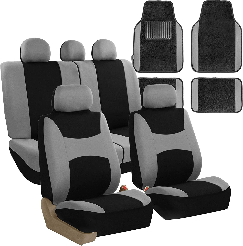 FH Group FB030115GRAYBLACK - Light & Breezy Flat Cloth Seat Covers – Combo Set