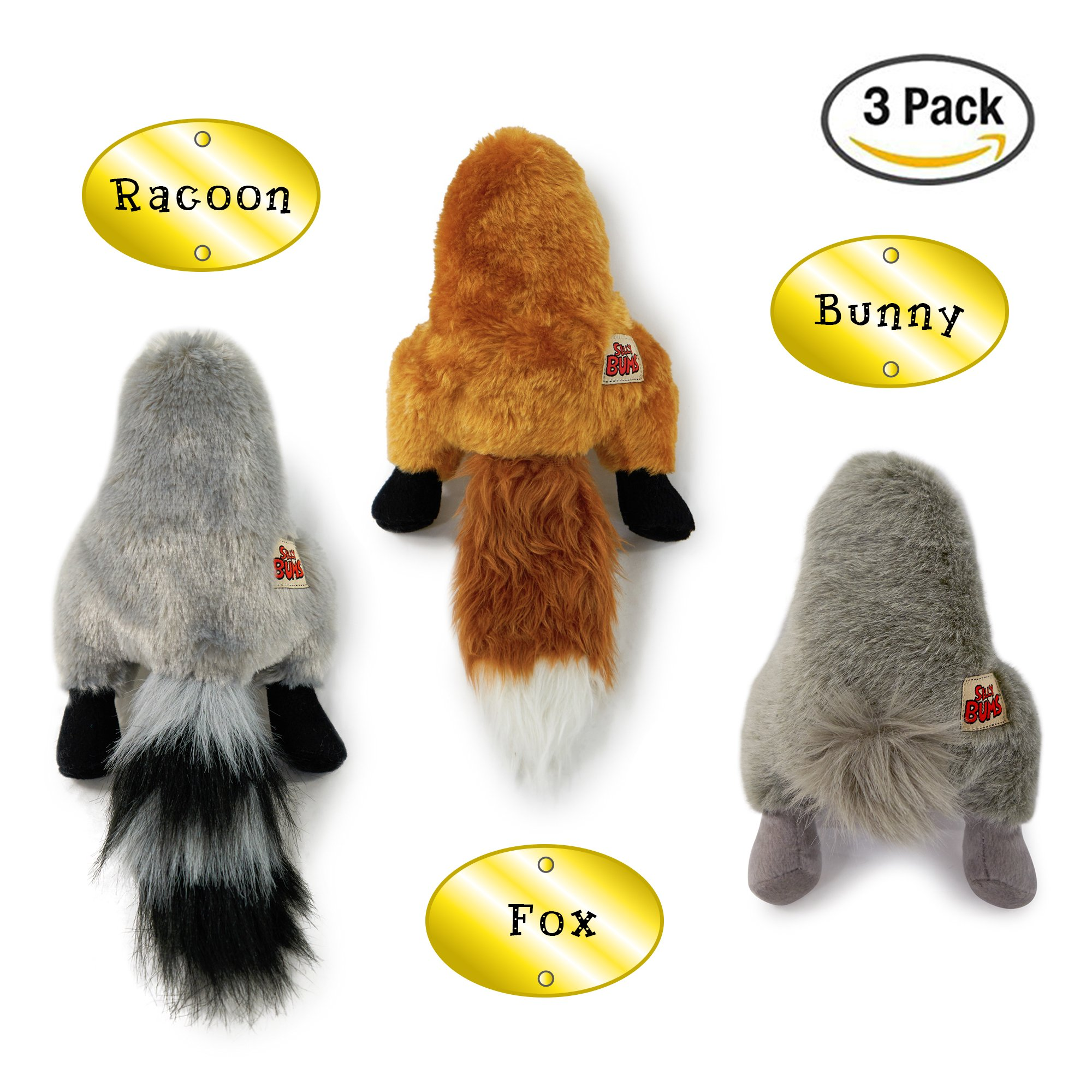 Pet Craft Supply Co. Funny Bums Woodland Animals Assortment Soft Plush Stuffed Crinkle Squeaking Cozy Cuddling Small Dog Toy (Fox, Bunny, Racoon)